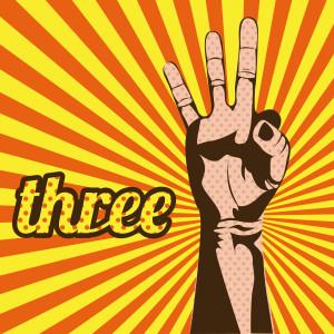 three number over grunge background vector illustration